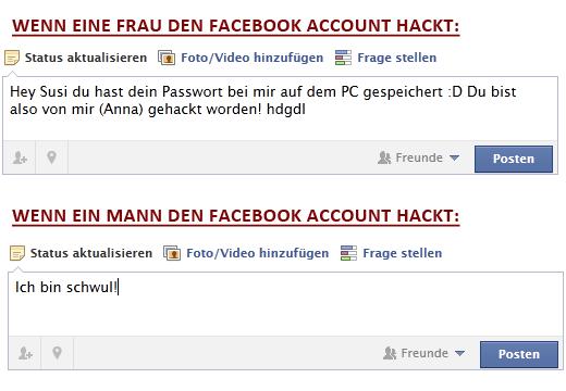 Facebook Hack - Unterschied